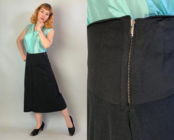 1930s Vivaciously Versatile Skirt | Vintage 30s Inky Black Heavy Wool Gabardine A Line Skirt w/Wide Waistband Talon & Ribbed Seams | Medium