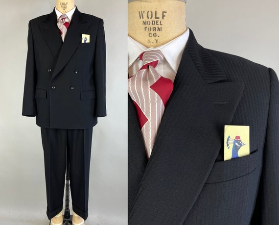 1940s Man in Black Two Piece Suit | Vintage 40s Noir Wool Peak Lapel Double Breasted Jacket and Adjustable Trousers | Size 40 Medium Short