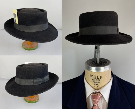 1950s Style Porkpie Fedora | Vintage 80s does 50s Black Wool Felt Mens Hat with Black Grosgrain Ribbon Band | Size 6 7/8 Small