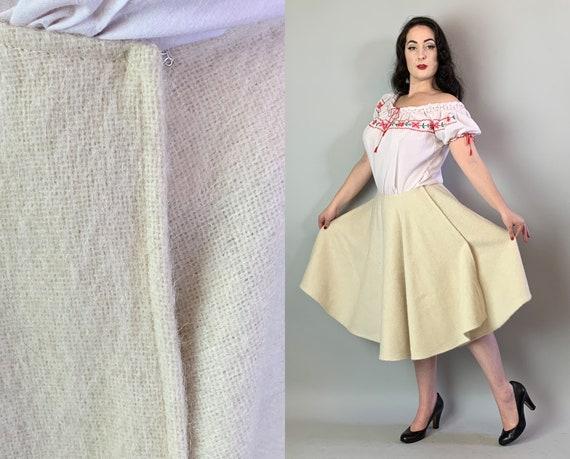 1940s Figure Skating Skirt | Vintage 40s Winter Wonderland Oatmeal Cream White Soft & Warm Wool Flared Full Skirt with Nipped Waist | Medium