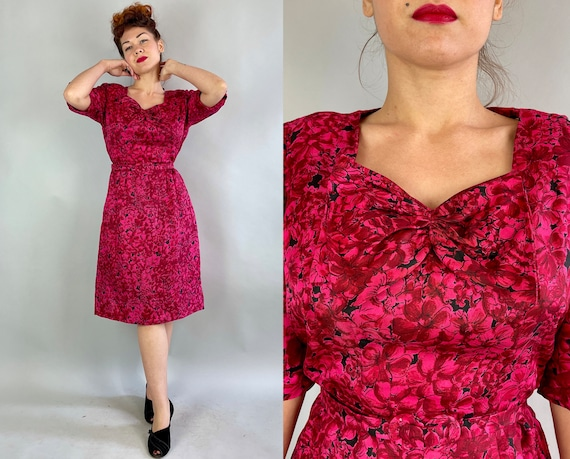 1940s Betty's Blooms Dress | Vintage 40s Red Pink and Black Silk Garden Party Floral Frock with Large Bow and Belt | Extra Large XL