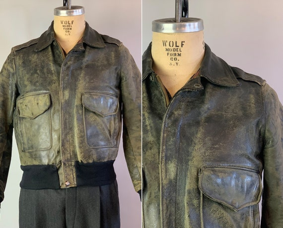 1940s Fly Boy Jacket | Vintage 40s Perfectly Distressed Grey Leather Motorcycle A2 Bomber w/Double Side Pockets Knit Details | Small Medium