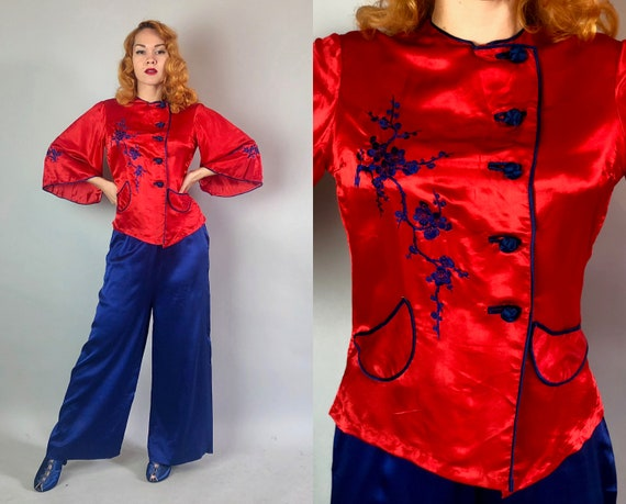1940s Two Tone Lounge Set | Vintage 40s Tomato Red and Cobalt Blue Silk Asian Inspired Embroidered Pajamas Shirt and Pants | Small/Medium