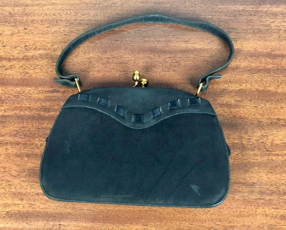 1940s Kiss-Lock Purse | Vintage 40s 'Duette' Black Nubuck Western Leather Handbag with Black Satin Ribbon Detail and Brass Closure