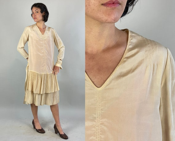 1920s Whimsical White Dress | Vintage 20s Ivory Silk Frock with Art Deco Shell Buttons Sashes and Accordion Pleated Layer Skirt | Small/XS