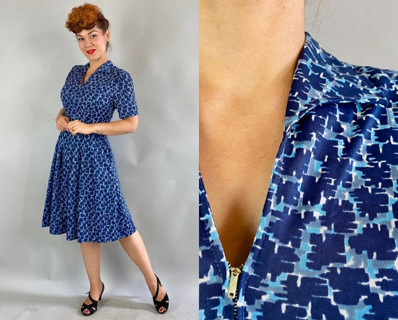 1940s Picasso's Blue Period Dress | Vintage 40s Rayon Jersey Shades of Blue Painterly Blocks Zip Front Day Frock with Pockets | Small