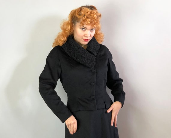 1940s Persian Lamb Jacket | Vintage 40s Vampy Black Fitted Wool Blazer & Asymmetrical Curly Persian Lamb Collar by 'Molly's' | Medium