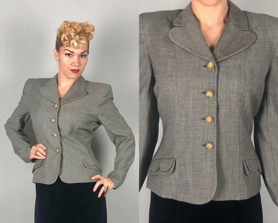Vintage 1940s Jacket | 40s Darling Salt & Pepper Grey Gray Tweed Blazer W/ Cute Scalloped Details, Contrasting Celluloid Buttons | Medium