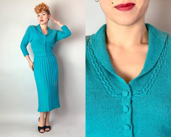 1950s Sultry Librarian Knit Dress Set | Vintage 50s Turquoise Teal Blue Green Wool Cardigan Sweater Top and Skirt Set | Small Medium