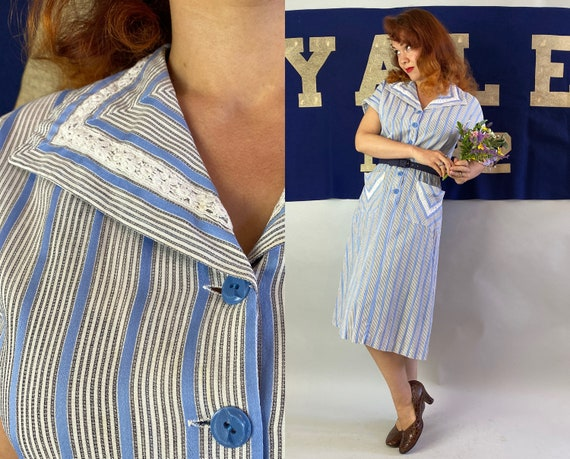 1940s Doting Dorothy Day Dress | Vintage 40s Semi-Sheer Blue White & Black Striped Cotton Button Up Frock w/Lace Accents and Pockets | Large