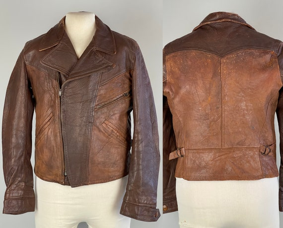 1930s Two Tone Belted Back Jacket | Vintage 30s Iron and Pecan Brown Leather Asymmetric Closure with Pockets and Talon Zips | Small