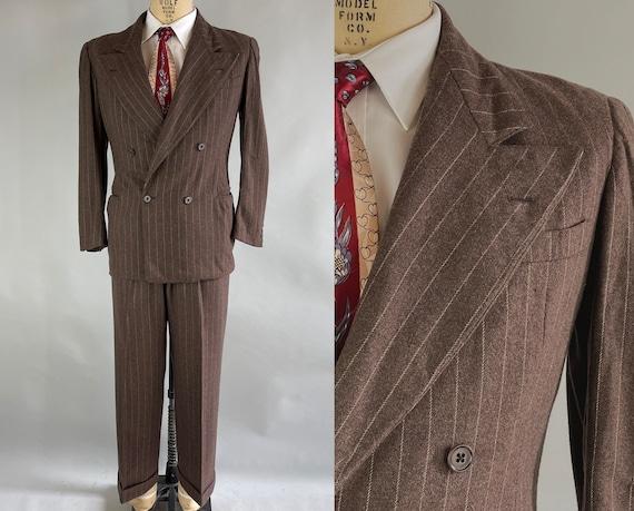 1940s Clever Clark's Suit | Vintage 40s Chestnut Brown Wool with White Chalk Stripe Peak Lapel Jacket & Trousers Pants | Size 38 Medium