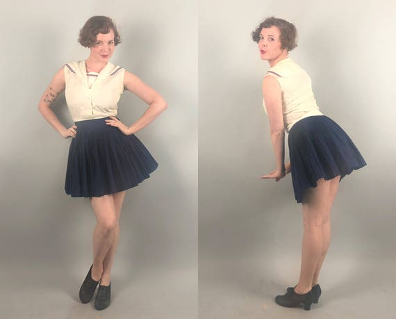 Vintage 1940s 1950s Playsuit | 40s 50s Red White Blue Nautical Sailor Gym Uniform Romper Sports Top & Skirt Set Sailor Moon | Extra Small XS