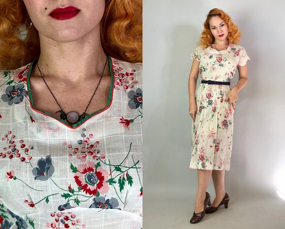 1930s Gatsby Day Dress | Vintage 30s Cotton Voile in White, Blue, Pink, & Green Floral Print w/ Sweetheart Neck and Scallop Sleeves | Medium