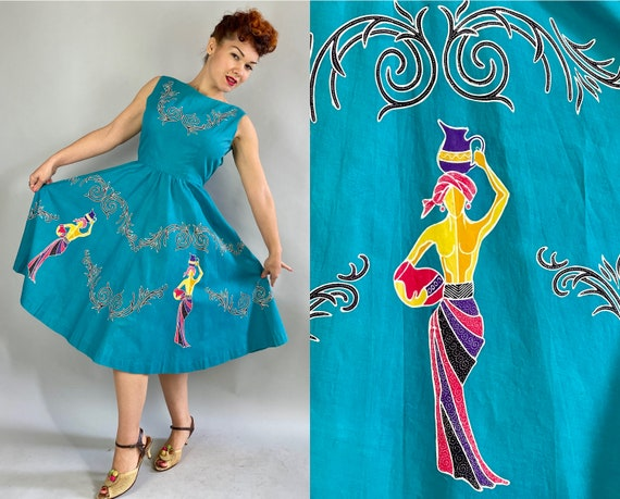 1950s Exotic Aquatic Frock   Vintage 50s Teal Blue Cotton Dress with Full Circle Skirt and Colorful Water Bearer Novelty Print   Medium