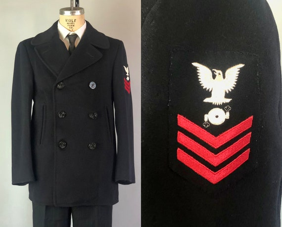 Vintage 1940s Men's Peacoat | 40s Navy Blue WWII Boiled Wool Overcoat Coat w/Naval Anchor Buttons & HandWarmer Pockets! | Size 36 - 38 Small