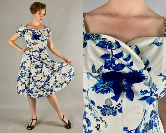 1950s Floral Party Dress | Vintage 50s Blue and White Cotton Frock w/ Full Skirt, Cap Sleeves, Velvet Bows, and Sweetheart Neckline | Medium