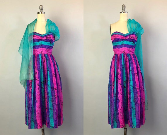 1940s Strapless Tiki Party Dress | Vintage Late 40s 'Tiana Pittelle of Honolulu' Pink Teal Purple Hawaiian Dress with Sash | Extra Small XS
