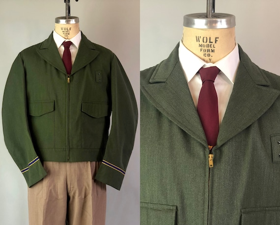 Vintage 1950s Mens Jacket | 50s Salt and Pepper Green Whipcord Wool Blend Workwear Uniform Coat w/ Blue & Gold Cuff Stripes | Size 42 Large