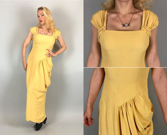 1930s Canary Yellow Evening Gown | Vintage 30s Rayon Crepe Cocktail Dress with Sleeve Ruching and Hip Sash Draping | Extra Small XS
