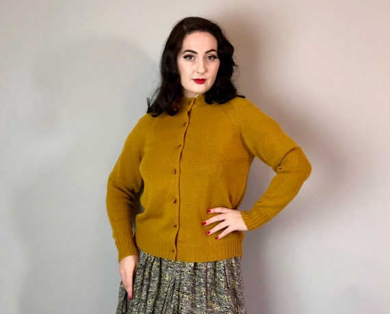 1950s Cardigan | Vintage 50s Mustard Yellow 'Koret of California' Wool Sweater with Brown Cat-Eye Buttons | Extra Large XL Volup