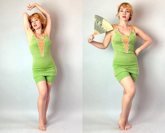 1920s Flirty Flapper Knit Bathing Suit | Vintage 20s Wool Color Block Apple Green & Tangerine Orange Art Deco Swim Costume |  Small Medium