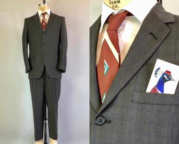 1950s Shadow Plaid Mens Suit | Vintage 50s Dark Grey and Midnight Blue Wool 2 Piece Suit with Notched Lapel | Size 40 Medium
