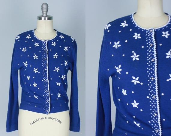 1950s True Blue Beaded Cardigan   Vintage 50s Wool Sweater with White Beadwork and Iridescent Sequins   Small/Medium