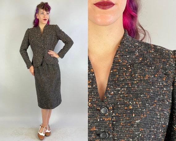 1940s Fabulous Fall Suit | Vintage 40s Black White and Orange Slubby Fleck Tweed Two Piece Jacket Blazer and Pencil Skirt | Medium