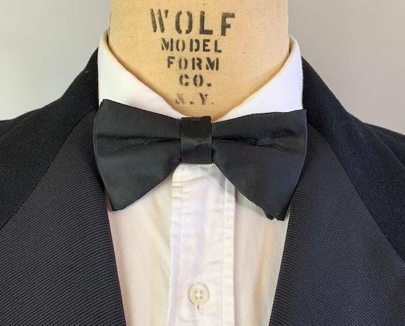 1950s Dapper Dan Bowtie | Vintage 50s Mid Century Noir Black Silk Satin Clip On Bow Tie