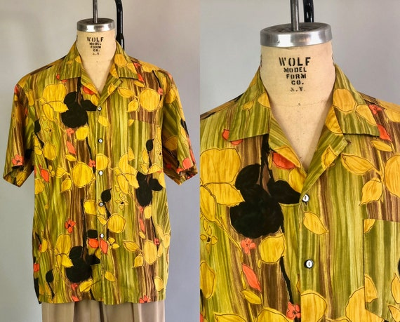 "1940s Men's Hawaiian Shirt | Vintage 40s Cotton Green, Black, & Yellow Novelty Print w/ Lemons made in Hawaii by ""Laukala"" 