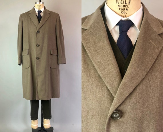 "Vintage 1950s Mens Overcoat | 50s Poised Taupe Beige Brown Wool Coat w/Flap Pockets by ""Marshall Field & Co."" 