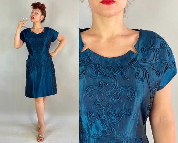 1940s Dancing the Blues Away Dress | Vintage 40s Iridescent Deep Teal Blue Rayon Taffeta Cocktail Party Frock with Soutache Details | Large