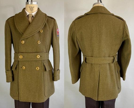 1940s Geronimo Jeep Coat | Vintage 40s WWII Moss Green Officers Heathered Wool Twill Barnstormer Mackinaw w/Shawl Collar & Full Belt |Medium
