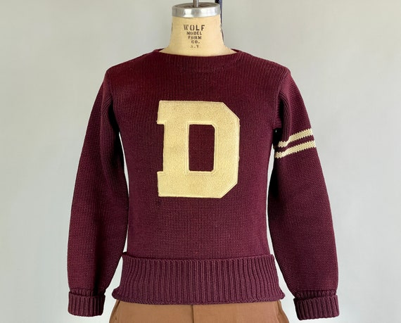 """1930s David's Dandy """"D"""" Sweater 