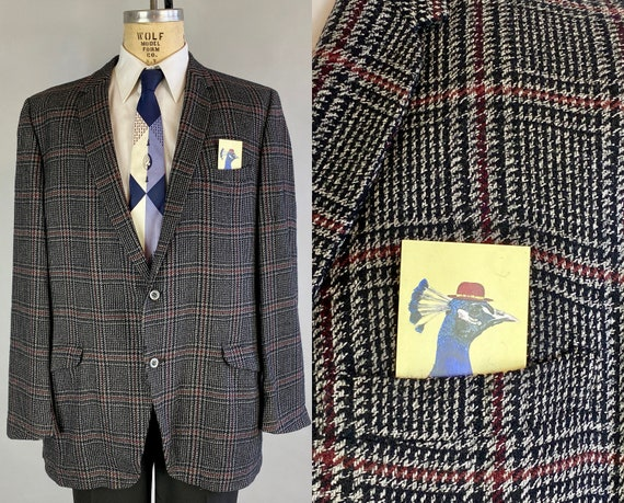 1950s Casual Cashmere Sportcoat | Vintage 50s Black Grey and Red Windowpane Plaid Single Breasted Blazer Jacket | Size 46 Extra Large XL