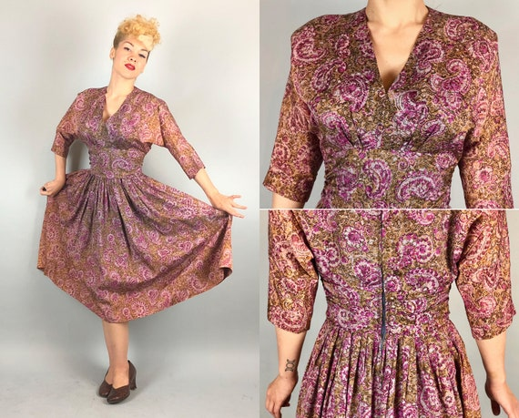 1940s Novelty Dress | Vintage 40s Magenta Orchid Pink and Hazelnut Coffee Brown Floral Paisley Print Rayon Taffeta Cocktail Dress | Small