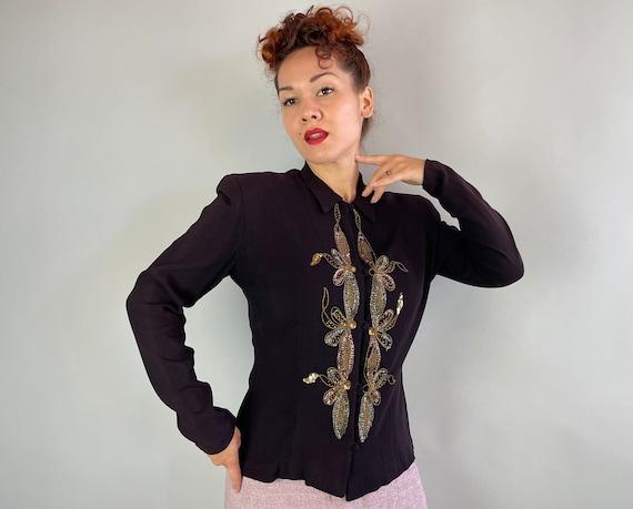 1940s Evelyn's Evening Out Blouse   Vintage 40s Black Rayon Crepe Shirt w/Gold Metal Soutache Butterflies & Pink Blue Sequins   Medium/Large