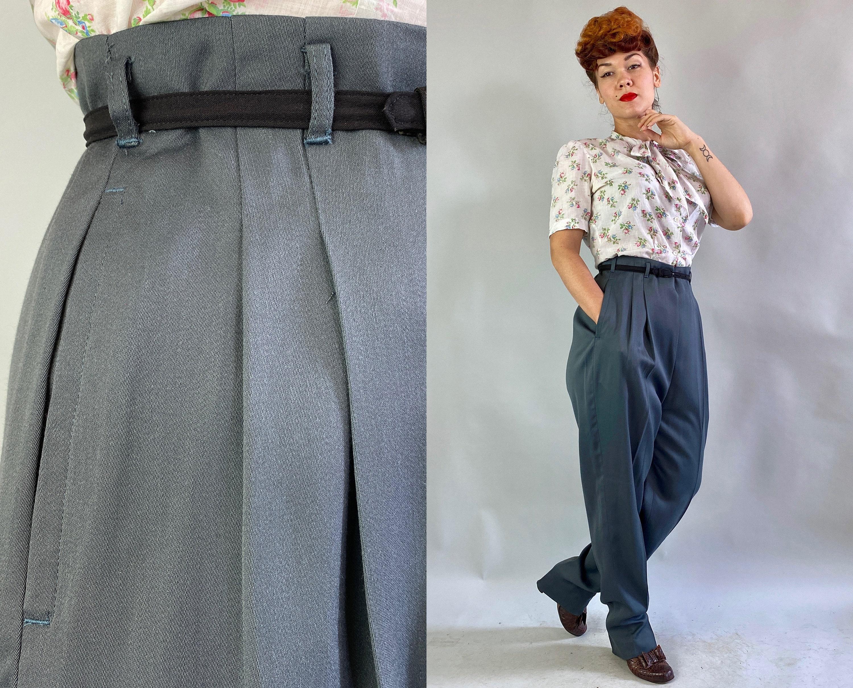 1950s Hats: Pillbox, Fascinator, Wedding, Sun Hats 1950S Footless  Fancy Free Slacks  Vintage 50S Charcoal Grey Rayon Hollywood Waist Side Zip Trousers Pants Large Extra Xl $22.00 AT vintagedancer.com