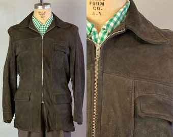 """1950s Mens Suede Leather Jacket 