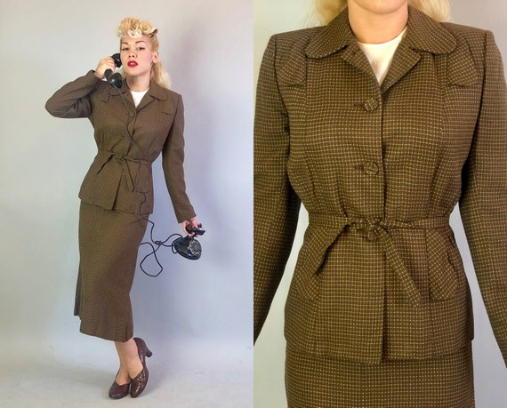 1940s Belted Ladies Suit | Vintage 40s Cedar Brown Wool Blazer and Pencil Skirt with Mustard Yellow Swiss Dot Micro Windowpane Weave | Small