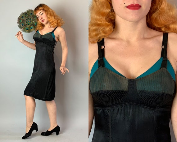 1930s Fetish Vampy Slip | Vintage 30s Black Rayon Satin Full Dress Slip with Sheer Net Half Cup Bullet Stitch Bra and Talon Bell Zip | Small