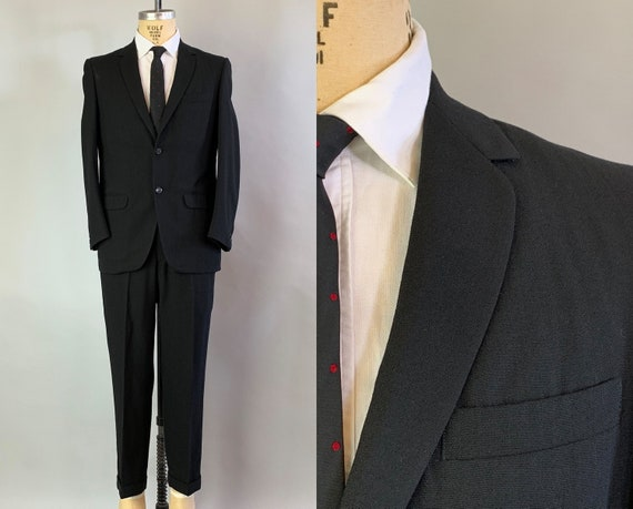 1950s Debonaire Don Suit | Vintage 50s Black Wool Single Breasted Blazer and Cuffed Slacks Two Piece Jacket & Pant  | Size 38 Medium