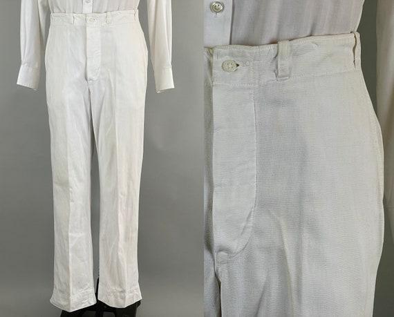 1920s Summer Soirée Trousers | Vintage Antique 20s Bright White Picnic Perfect Cotton Button Fly Flat Front Slacks Pants | Size 33x31 Medium