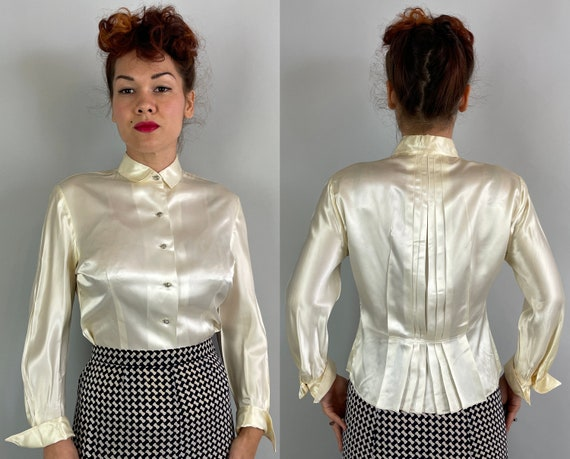 1940s Satin Doll Blouse | Vintage 40s Ivory White Liquid Rayon Rhinestone Button Up Shirt with Faux French Cuffs and Pleated Back | Large