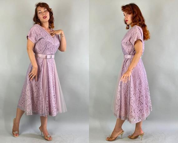 1940s Lovely Lavender Lace Dress   Vintage 40s Pa… - image 7