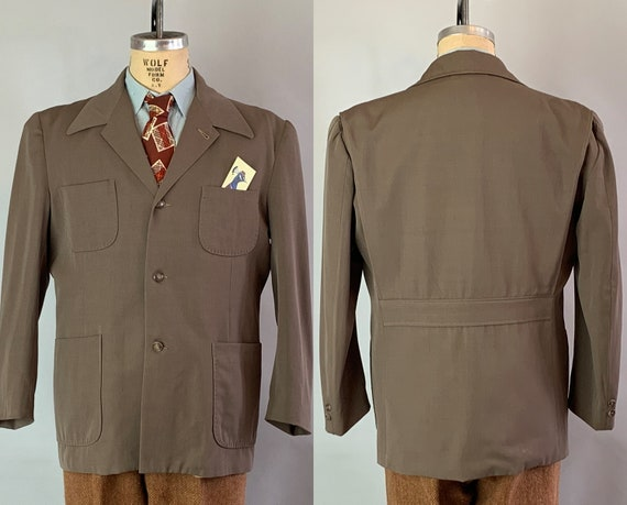 1940s Belted Back Casual Jacket | Vintage 40s Mens Ash Grey Taupe Wool Gabardine w/ Topstitched Collar and Pockets! | Size 44 Extra Large XL