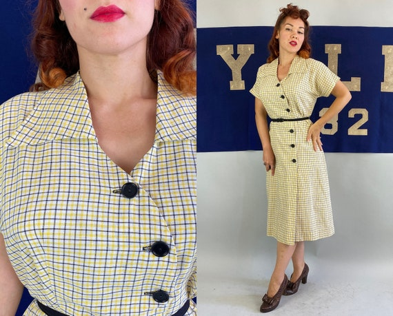 1940s Perfect Plaid Day Dress | Vintage 40s Yellow Black & White Cotton Frock with Asymmetric Buttons and Wing Collar | Large Extra Large XL