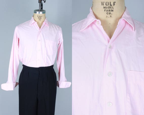 1950s Pale Pink Men's Shirt | Vintage 50s 'Roos Bros' Cotton Button Up Shirt with Pointed Collar and French Cuffs | Medium