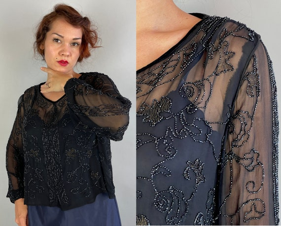1920s Bedazzling Beaded Blouse | Vintage 20s Black Silk Chiffon Sheer Top with Vining Jet Seed Beads & Bronze Thread | Extra Large XL Large